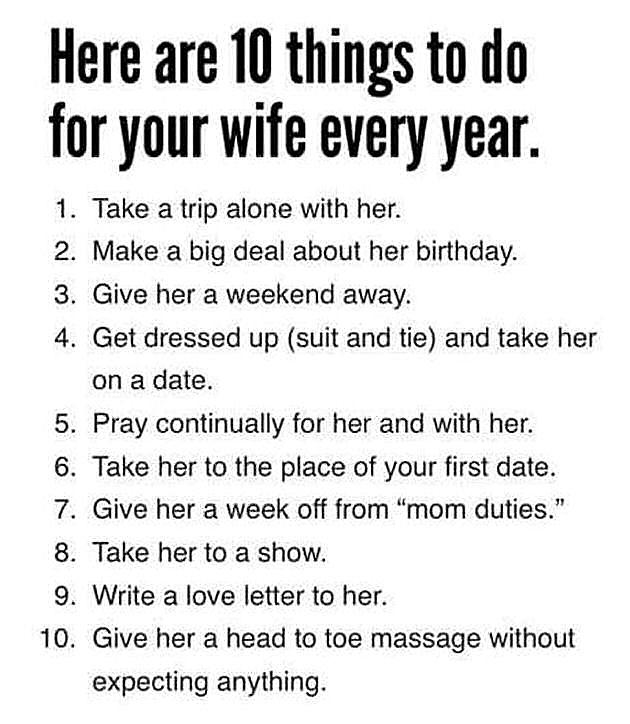 10 Things To Do For Your Wife Every Year